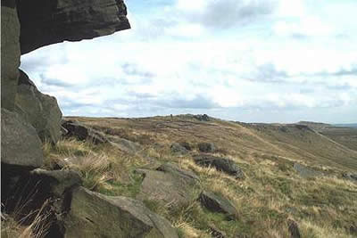 View east Edale Rocks to Woolpacks, Kinder