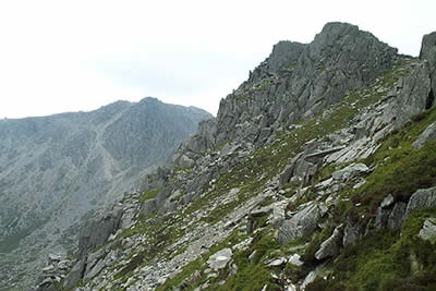 The south peak of Tryfan provides a useful marker to the end of the Heather Terrace