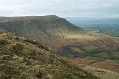 Twmpa, seen here from Hay Bluff, is typical of the landscape of the Black Mountains