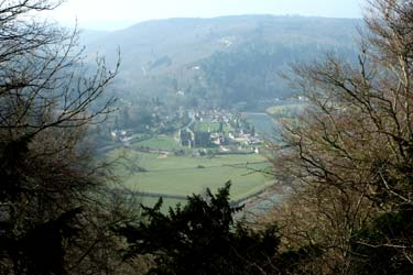 Tintern Abbey and the village of Tintern seen from the Devil's Pulpit