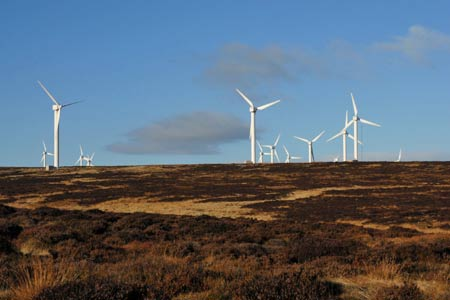 Part of the Ovenden Moor Wind Farm