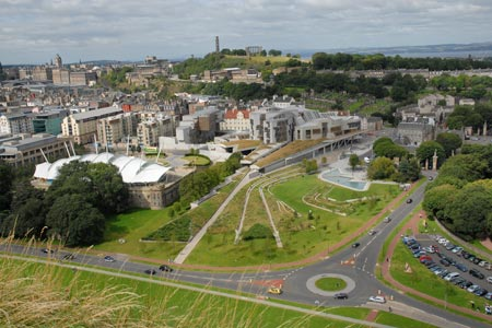 Edinburgh - The Scottish Parliament from the top of Salisbury Crags