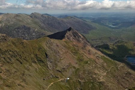 The view back to Crib Goch from Garnedd Ugain