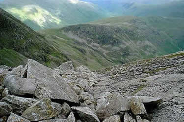 Looking down the Great Slab over Rosset Gill towards Rosset Pike