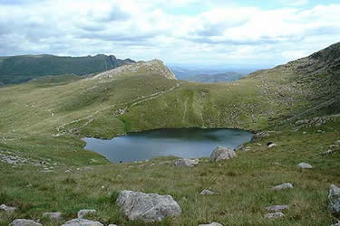 Angle Tarn, with Rosset Pike beyond, as seen on the descent from Ore Gap