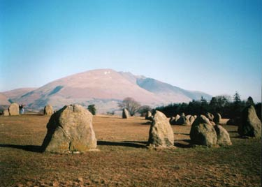 Castelrigg Stone Circle with Blenvathra providing a superb backdrop
