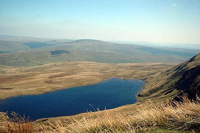 Llyn y Fan Fawr from Fan Brycheiniog with Fan Gyhirych beyond