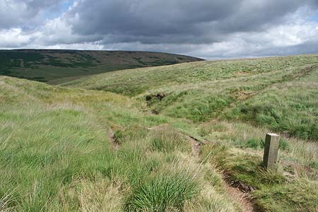 The packhorse way to Marsden with one of the marker stones