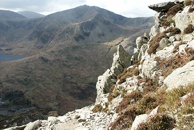 Y Garn seen across the Ogwen valley during an ascent of Pen yr Ole Wen