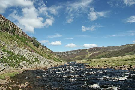 The River Tees with Falcon Clints (left) and Cronkley Scar (distance)