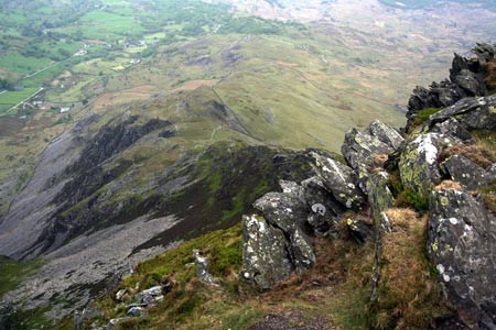 Looking down the west ridge of Cnicht to Cwm Croesor