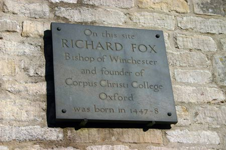 Bishop Foxe's birthplace plaque, Ropsley