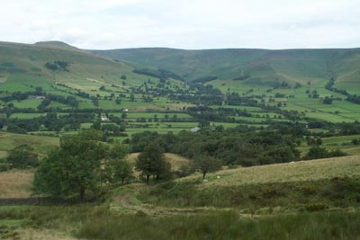 The view across Edale to the Kinder Plateau