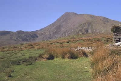 Moel Siabod on the approach path from Pont Cyfyng