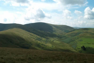 The hills near Kirk Yetholm seen from the Pennine Way