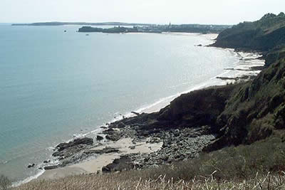 Looking south to Tenby with Caldey island beyond