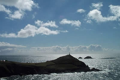 Cape Cornwall is topped by a derelict mine chimney