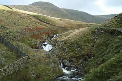 Hayeswater Gill has a series of cascades and waterfalls