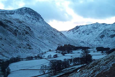 The view up Grisedale with St Sunday Crag on the left