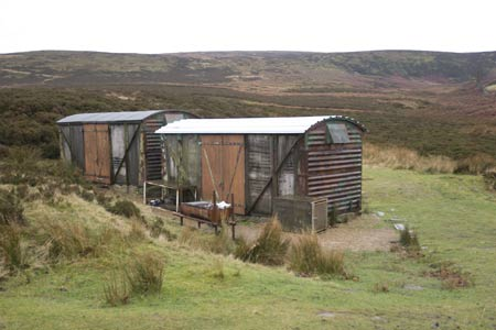 Two old railway wagons survive the elements on Haworth Moor