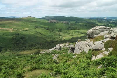 View north from Haytor Rocks across Becka Brook valley