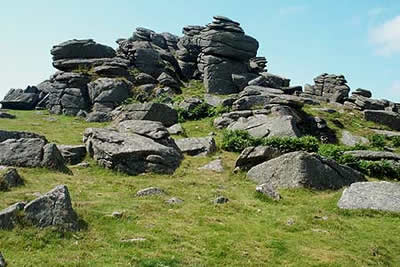 Hound Tor is formed of weathered granite
