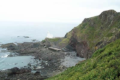 Hartland Point is a rocky promontory with a lighthouse