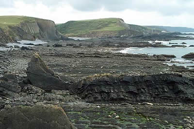 Blegberry Beach lies south of Damehole Point