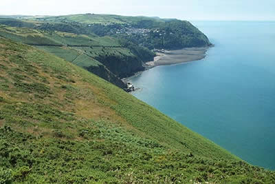 Lynmouth & Lynton from South West Coast Path, Contisbury