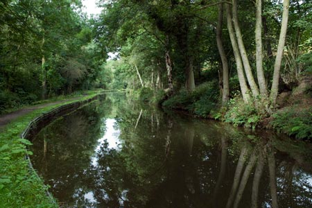 The Caldon Canal on the approach to Consall