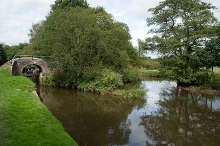 The Canal Canal and River Churnet divide near Cheddleton
