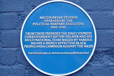 Plaque commemorating work of Political Warfare Executive