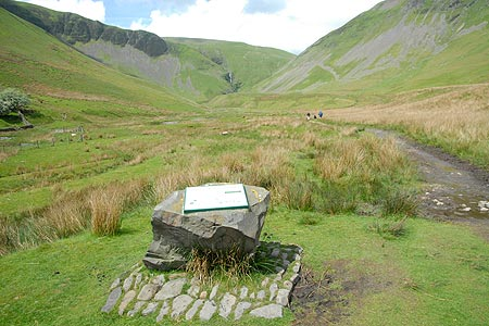 The information board at Cautley Spout