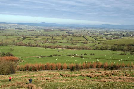 View over Ribble Valley to Three Peaks