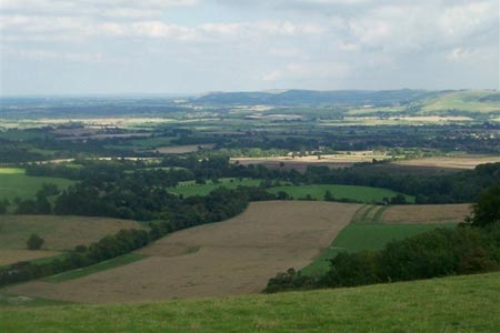 Typical view over the Weald of Sussex from  the South Downs