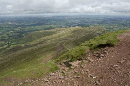The view down the ridge from the summit of Pen y Fan