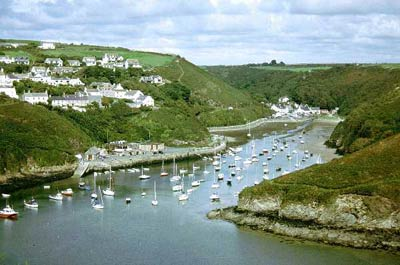 Solva harbour at low tide & Cribyn ridge