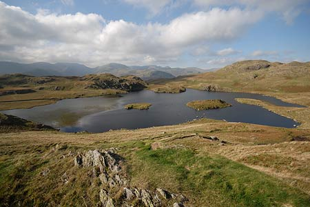 Angle Tarn with the Eastern Fells as a backdrop