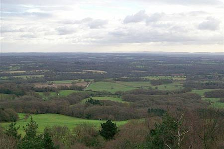 View south across the Weald to South Downs