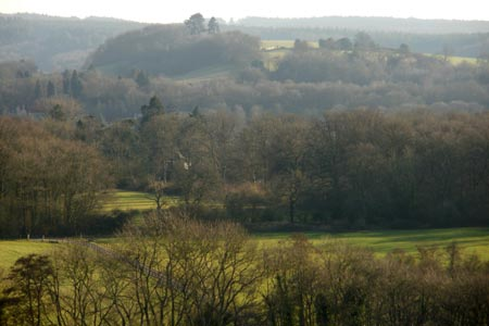 Looking south from the path up to the North Downs Way
