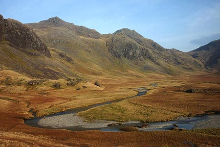 Scafell Pike viewed from upper Eskdale