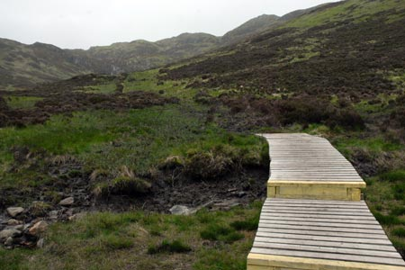 Boardwalk in Gleann Riabhach on Ben Venue path