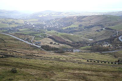 Looking across Diggle from Millstone Edge