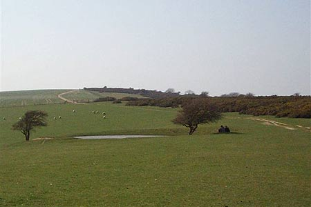 One of several dew ponds seen close to the South Downs Way