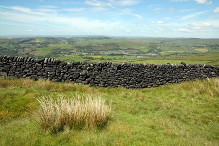 Stone walls and moors above Uppermill