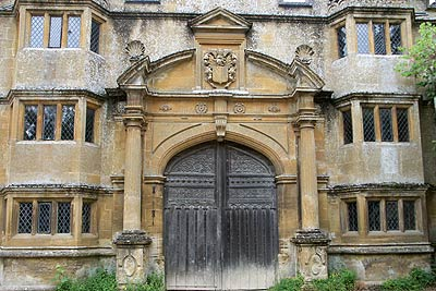 The beautiful stone gatehouse that leads to Stanway House