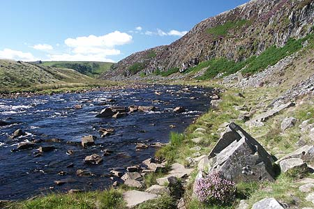 Looking upstream along the River Tees below Falcon Clints