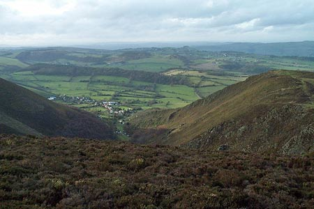 The deep valley of Mytton Dingle on the west flank of the Stiperstones