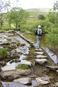 Stepping stones by Beezley Farm over the river Doe