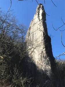 Ilam Rock standing sentinel on the riverbank below Dovedale Wood.